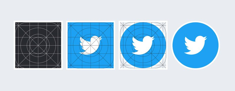 Twitter's bird symbol sized with the iOS icon grid