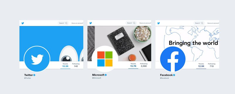 Twitter pages belonging to Twitter, Microsoft, and Twitter