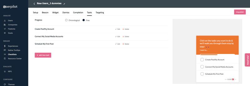 adding tasks for onboarding checklist in Userpilot