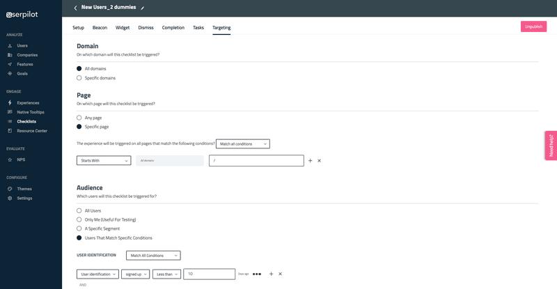 audience targeting in Userpilot