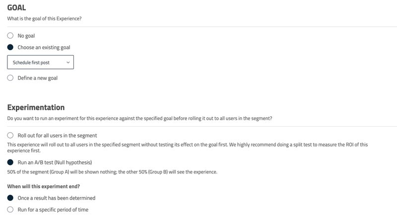 A/B testing experiences in Userpilot