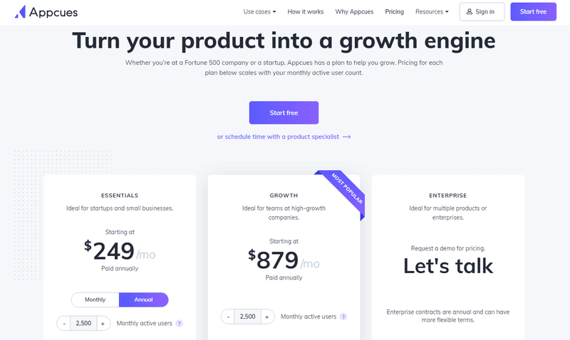 Appcues pricing best onboarding software for SaaS