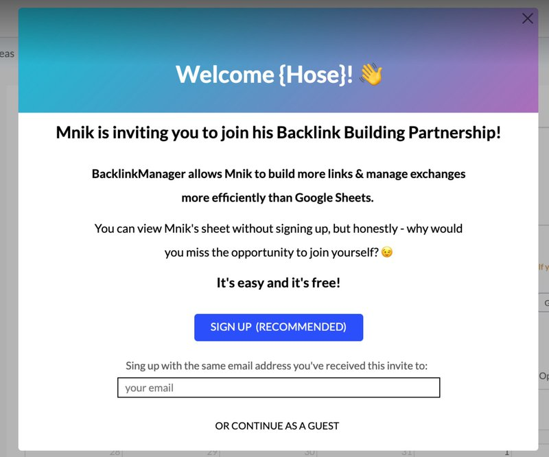 backlink manager io welcome screen