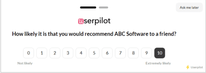 userpilot what is considered a good nps score
