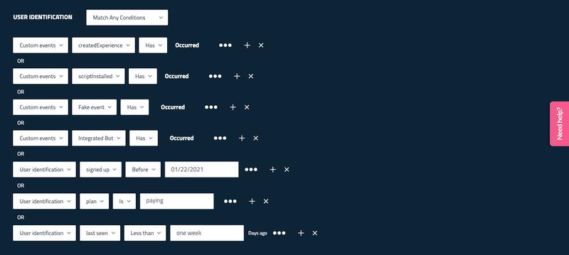 userpilot segmentation custom events