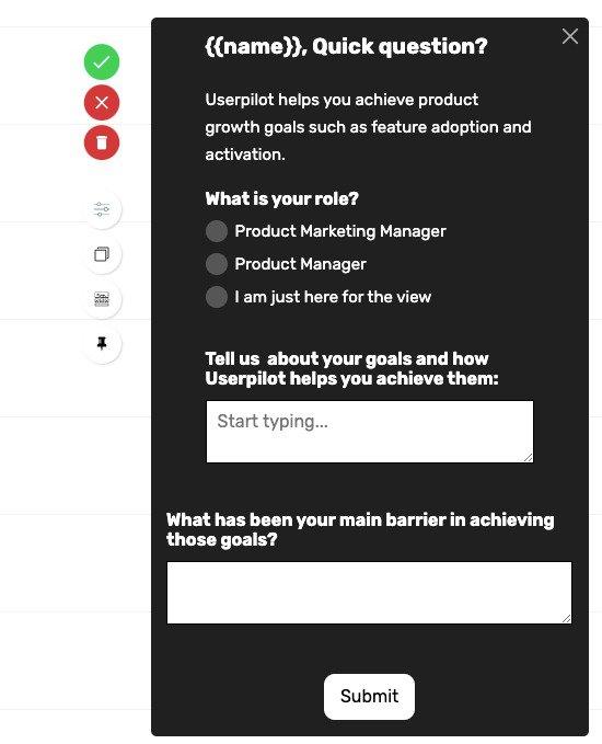in app survey userpilot