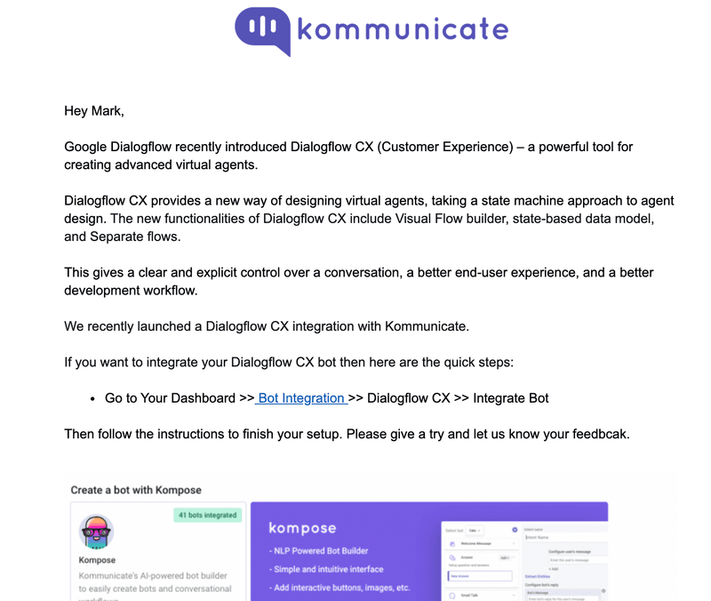 kommunikate emails