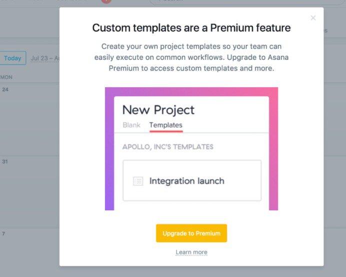 Asana customer segmentation premium feature