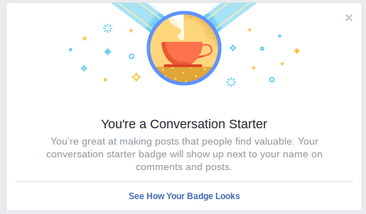 Facebook group badge gamification