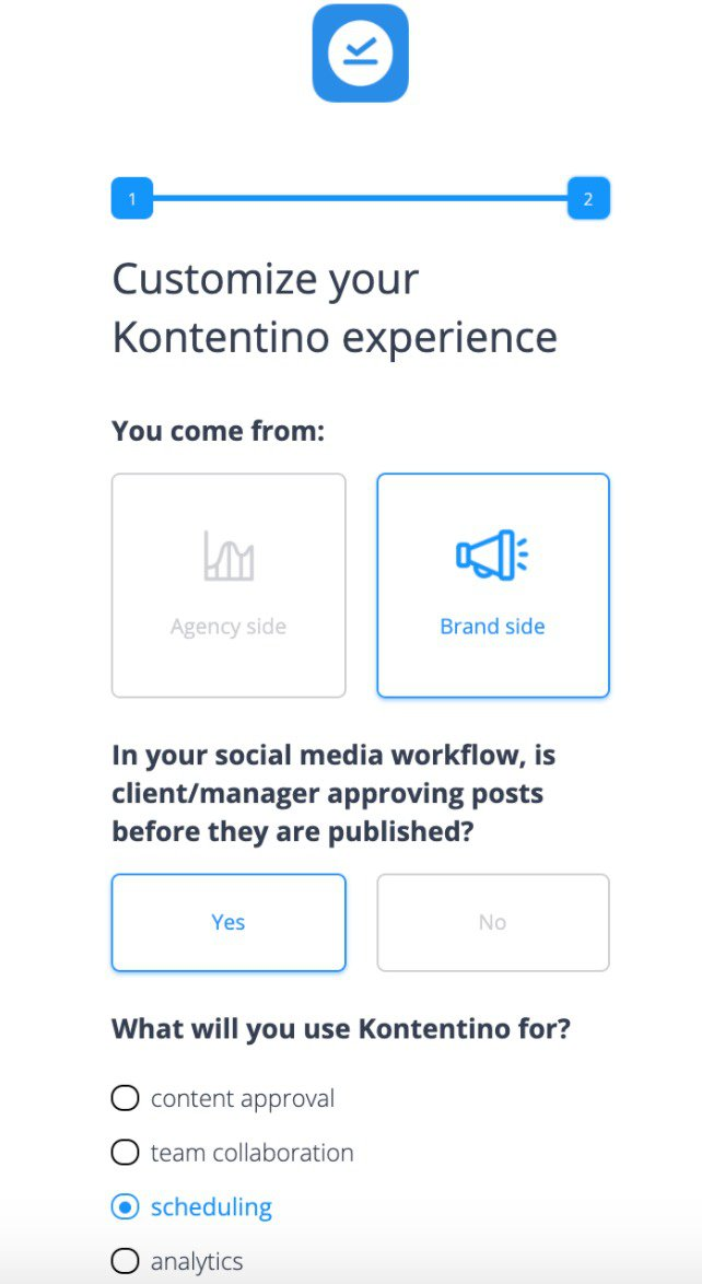 Kontentino welcome screen in-app survey