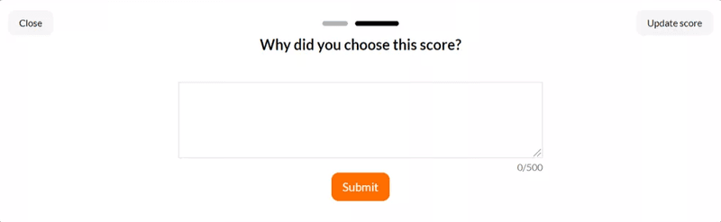 The Qualitative question in NPS survey built with Userpilot