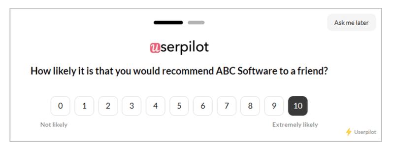 in app net promoter score survey userpilot