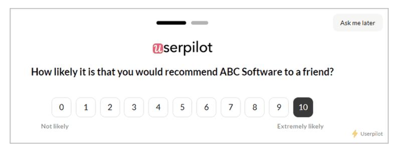 NPS score survey in Userpilot