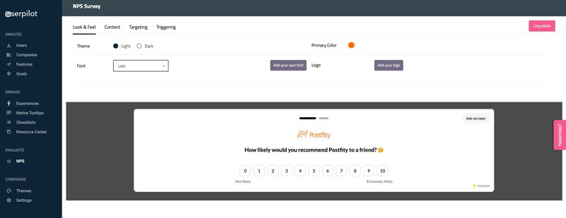 NPS Survey New Userpilot