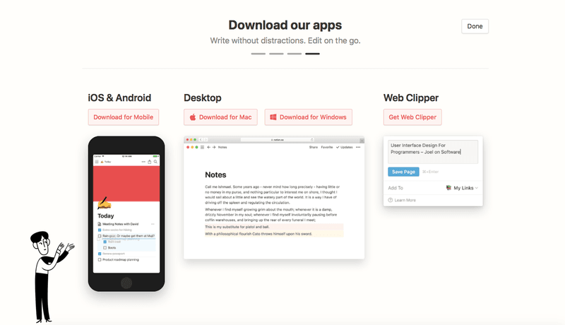 Notion urges users to download apps