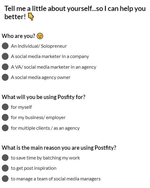 postfity welcome screen micro survey