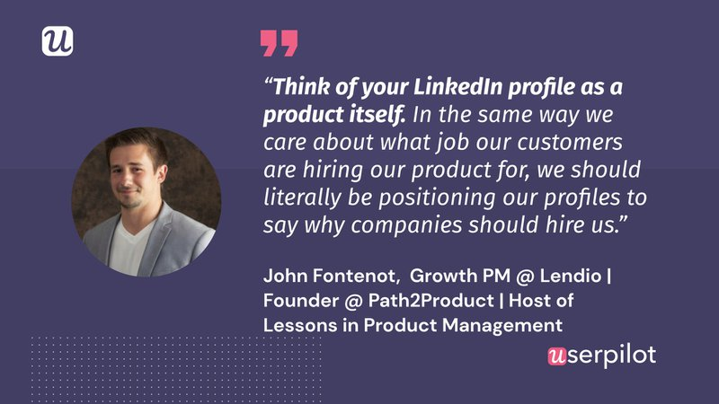 Product Manager LinkedIn Profile - John Fontenot's quote