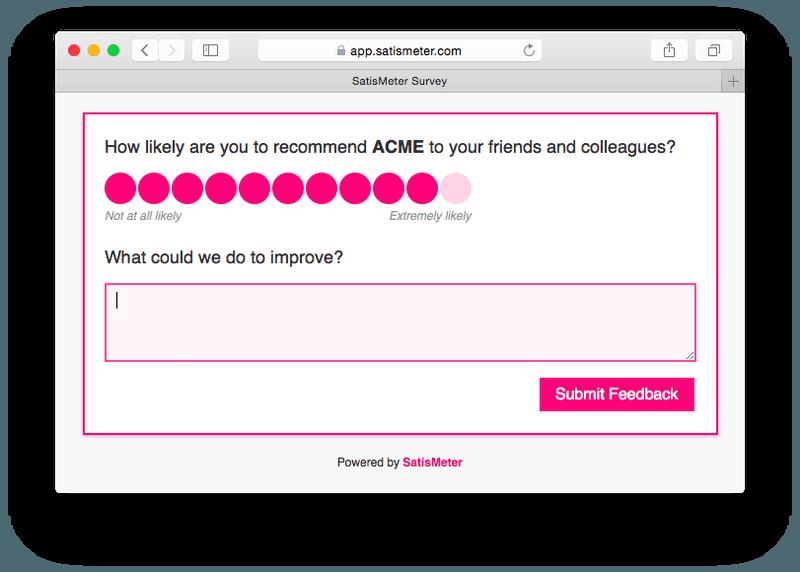 Satismeter NPS survey example