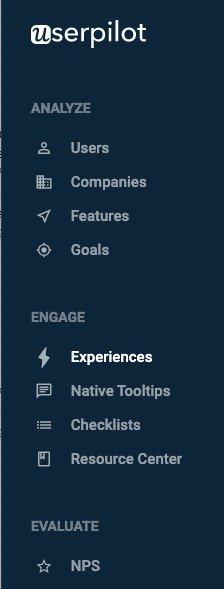 userpilot menu