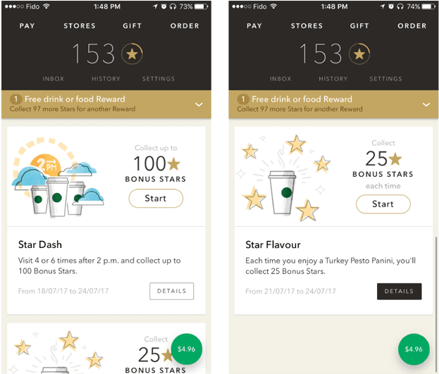 Starbucks in-app gamification