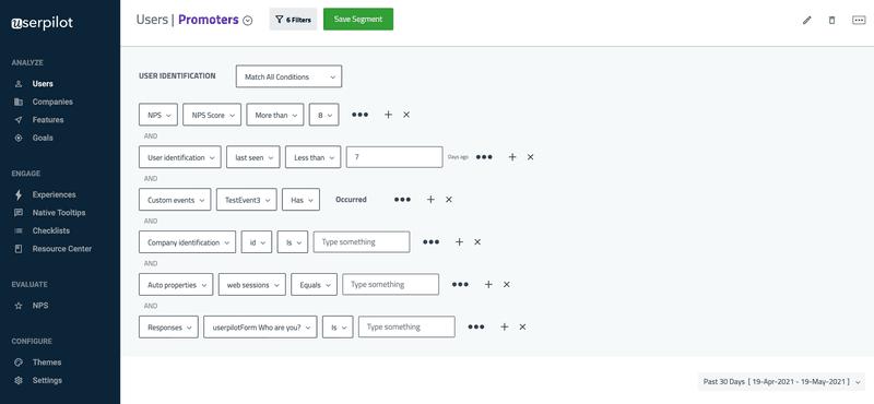 Userpilot advanced segmentation