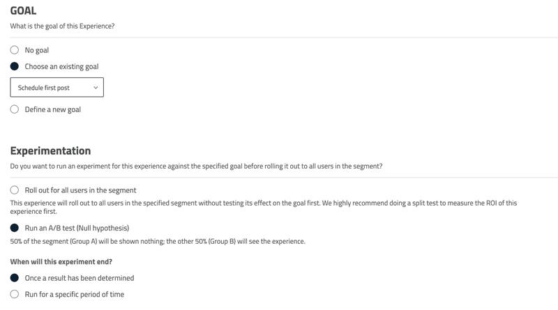 Userpilot split testing