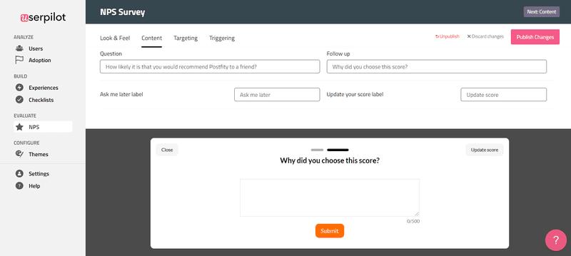 Code free tools for UX: Userpilot