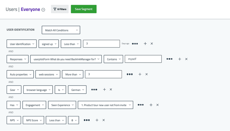 user segment userpilot