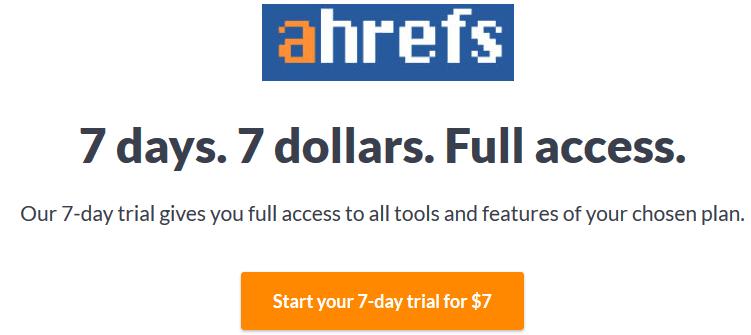 ahrefs paid trial