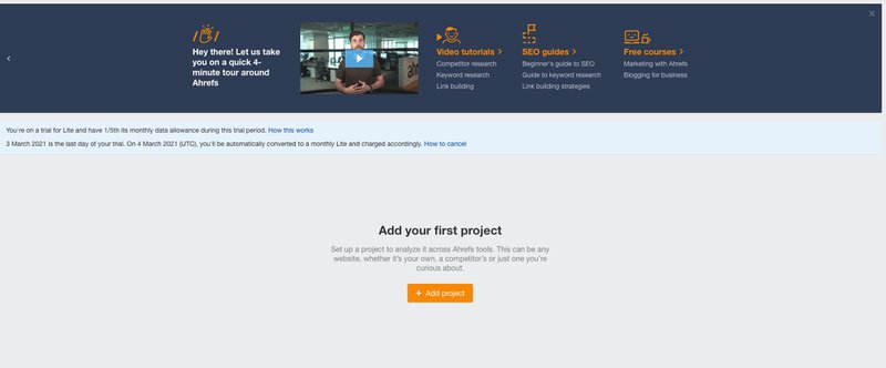 ahrefs onboarding free trial vs paid trial