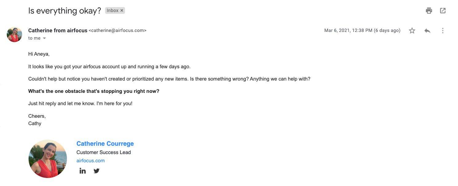 Airfocus user retention email