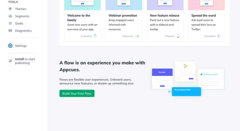 Code free tools for UX: Appcues