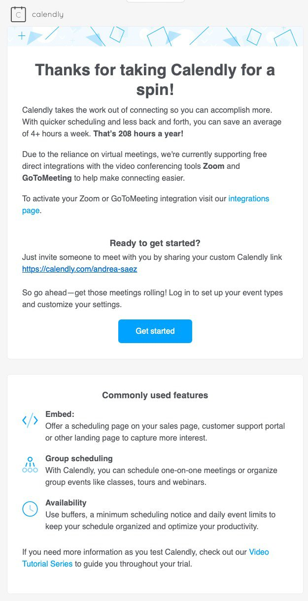 Calendly Onboarding Welcome Email