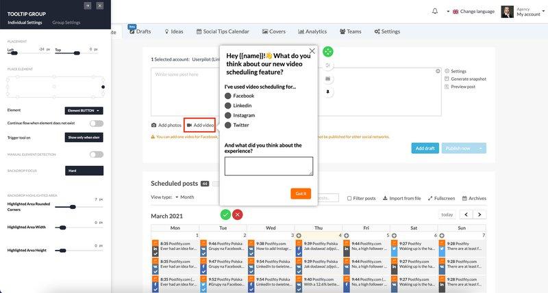 Contextual in-app feedback survey done in Userpilot