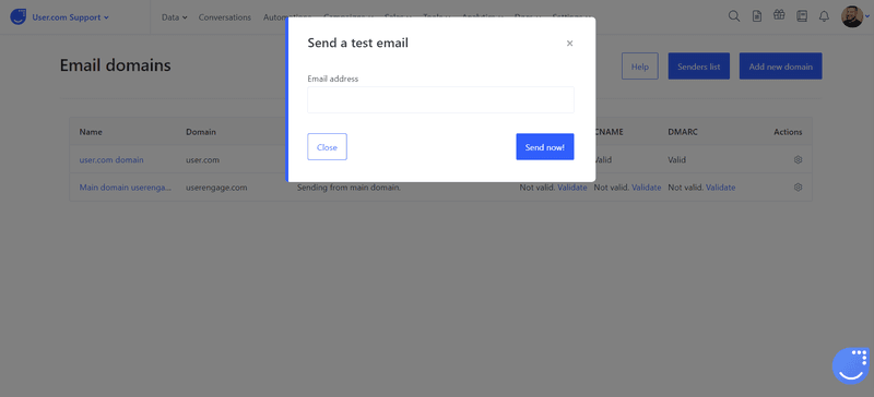 user.com test email