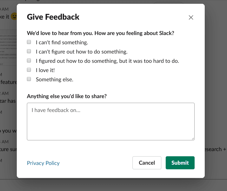 feature survey slack