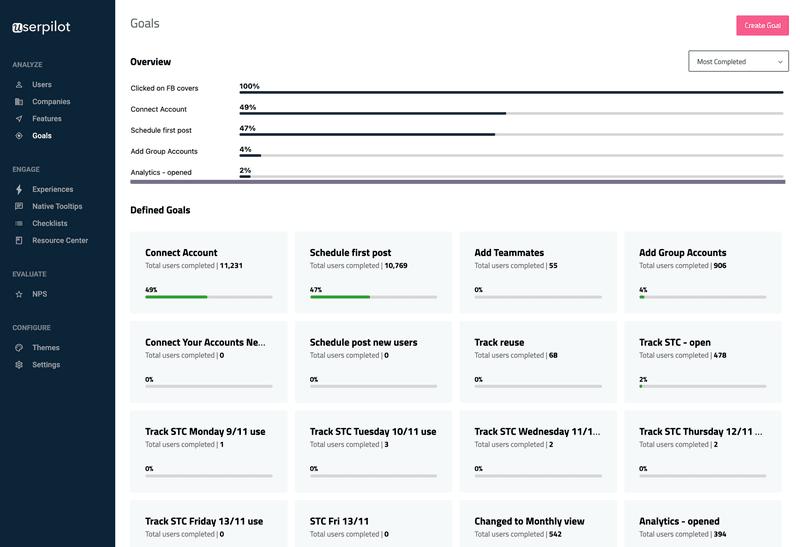 Goal tracking in Userpilot