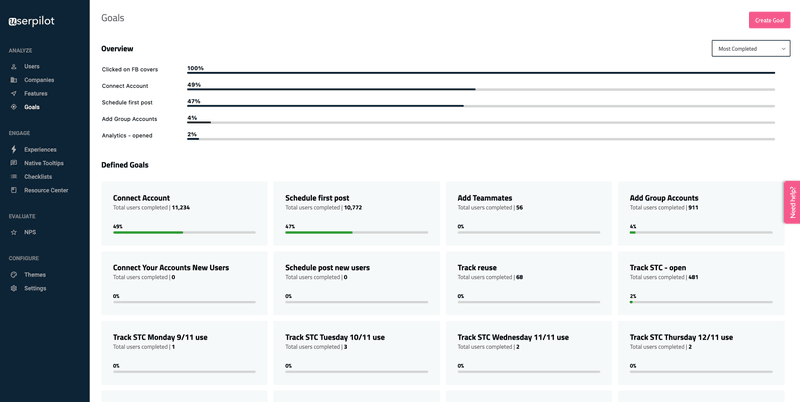Userpilot user goal to be completed prompt reactive user onboarding
