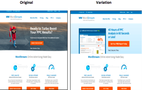 Wordstream A/B landing page test