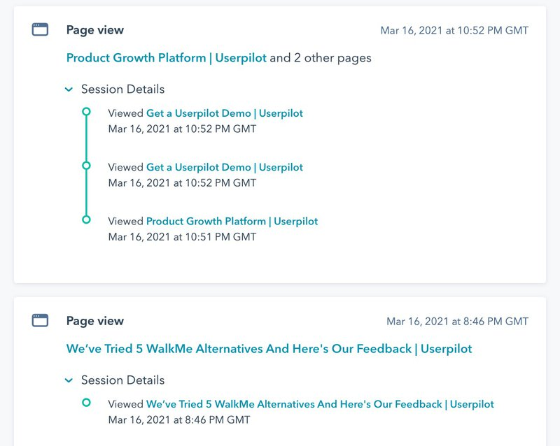 hubspot website user journey