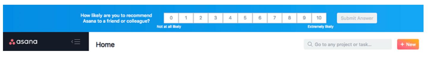 net promoter score (nps) banner survey in asana