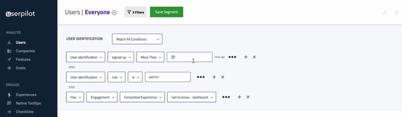 Userpilot user segmentation