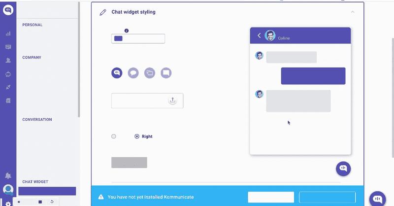 kommunicate chat widget customization