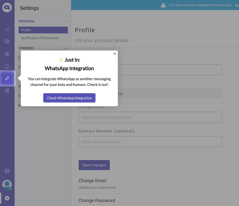 Kommunicate tooltip build with Userpilot