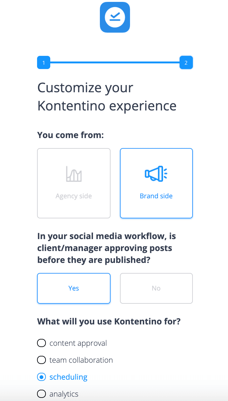 welcome screen saas micro-survey template, kontentino welcome survey