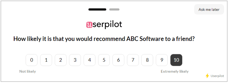 Users can answer the question on a scale of 1-10