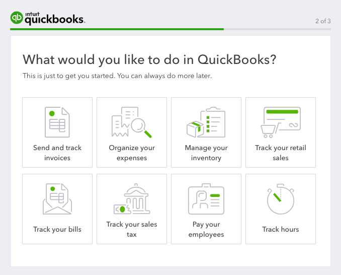 quickbooks welcome screen