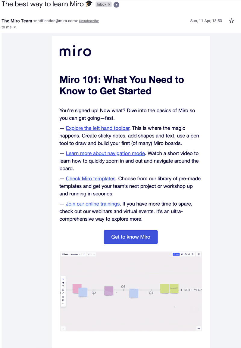 example of email automation to bring users to the app