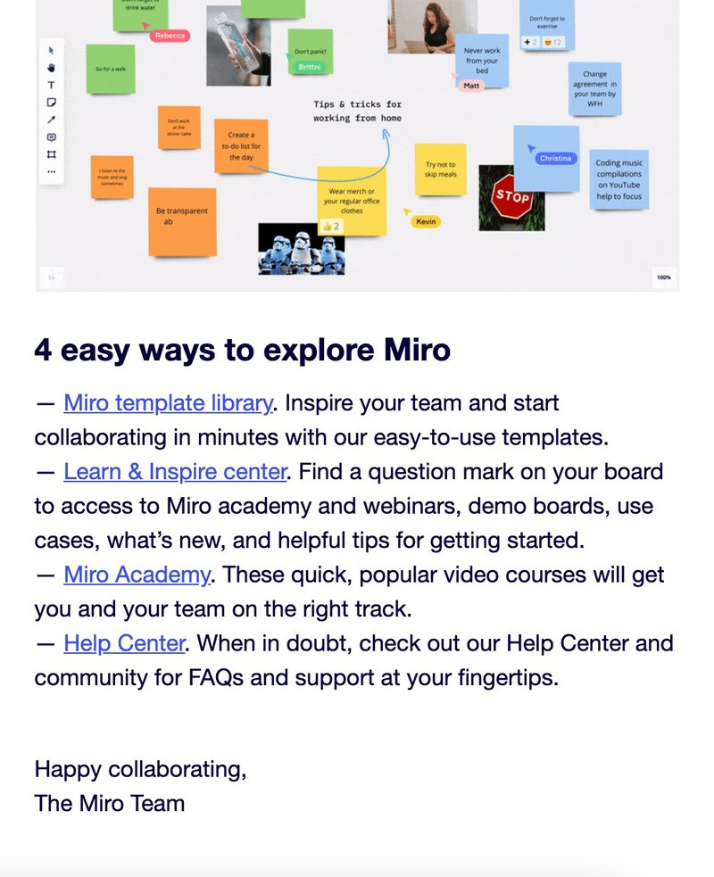 Miro Onboarding Welcome Email