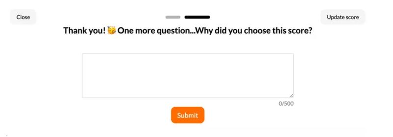 qualitative question in userpilot NPS micro-survey